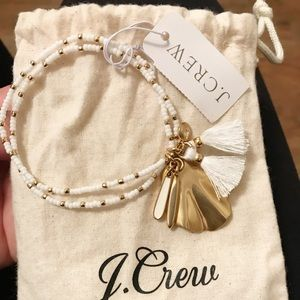 J.Crew NWT Stretchy Beaded Bracelet in white&gold